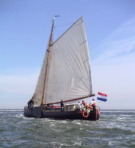 Segeln auf IJsselmeer oder Wattenmeer mit der Einmasttjalk Ontmoeting ab Harlingen